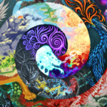 close up of a drawing of a double spiral filled with fantasy and science fiction motifs